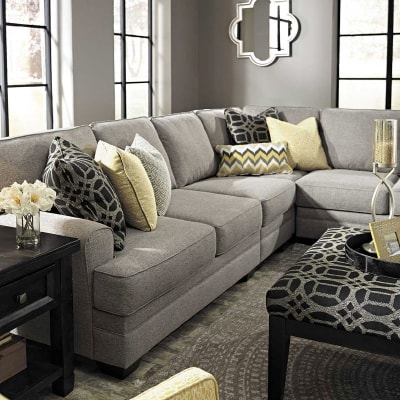 CRESSON 4 PIECE PEWTER SECTIONAL WITH RAF CHAISE